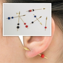Stephanie Simek Spearrings ~ Elongated 22 karat gold-filed spear posts pierce the ear and are secured by hand-formed rubbery backings.