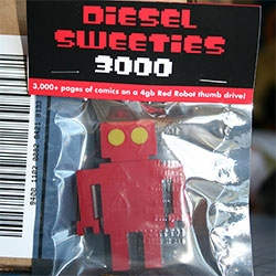 Diesel Sweeties SDCC Special -  limited number of DIESEL SWEETIES 3000 limited run Red Robot thumb drives filled with ebooks and an even more limited set of ten Black Death Editions.
