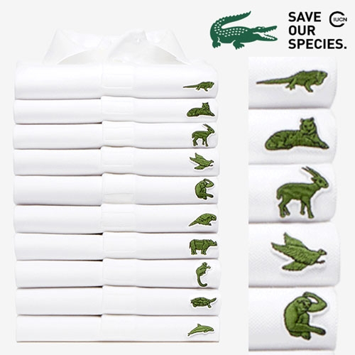 Lacoste x ICUN Save Our Species Limited Edition Polos featuring mini icons like the Sumatran Tiger, Anegada Ground Iguana, Soala, California Condor, and Kakapo Parrot.