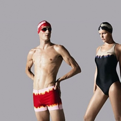 Speedo collaborates with Comme des Garçons for their latest swimsuit collection featuring Logo Scripts & Tie Dye.