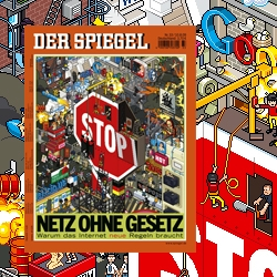 "eBoy commissioned to do the new Der Spiegel magazine cover subtitled ""why the internet needs new rules."" Watch out for nude pixel people!"
