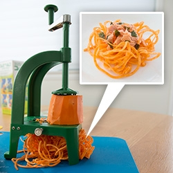 "Spiralizing! Magically turning veggies into up to 7ft ""pasta"" with the Benriner Spiral Slicer. Delicious Zucchini Pasta with Bolognese for humans and some Yam Pasta with Salmon and Nori for the NOTpuppy."