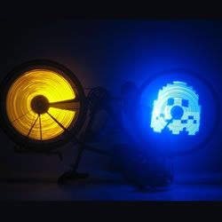 SpokePOV is an easy-to-make electronic kit toy containing all the parts necessary to build your own bicycle LED light show.