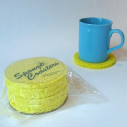 Sponge Coasters. Brilliant. (doesn't it make you want to run and grab your sponges and a pair of scissors?) via SwissMiss