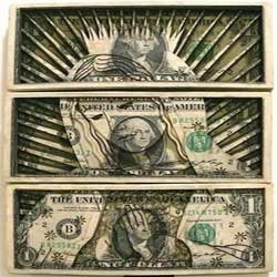 Scott Campbell, a talented American tattoo artist, has created a series of cool artworks by laser cutting stacks of one dollar bills.
