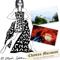Stephen Sprouse is a legendary fashion designer/artist ~ and when he couldn't pay for his 1 month stay at Chateau Marmont in '91, he paid with fashion sketches! We have an exclusive look at 1 of the 6!