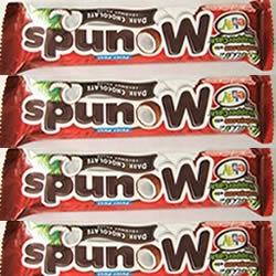 "In a gas station today, my Mounds bar doesn't scan, so the cashier holds up the bar and, in a thick accent, calls to the other employee: ""Spunow is same price as Snickers?"""