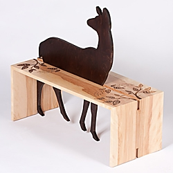 Illustrator Amy Ruppel created a hybrid low table / stag for collaborative furniture show Project Chaboo.