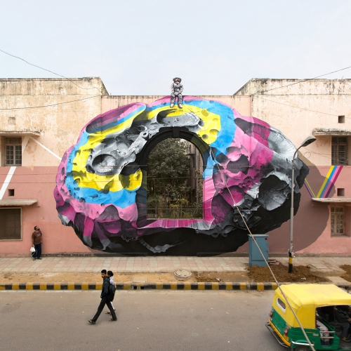 """Nevercrew's new mural painting """"see through / see beyond"""" realized in New Delhi, India, for St+Art India Foundation."""