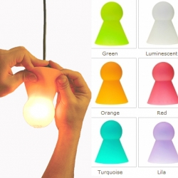 Dress up your bare lightbulbs in colourful 'Bulbcaps'.  Buy dozens and change them according to the mood.