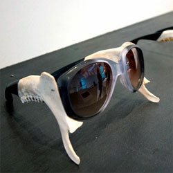Sunglasses meet jaws at Show RCA 2012. Emma Montague was inspired by the relationship between the shape of the jaw bone and sunglasses when she put her Ray Bans down beside a mandible...