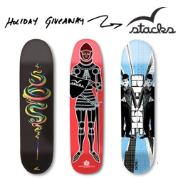 NOTCOT Holiday Giveaway #14: Stacks! These guys are generously giving one lucky winner a set of three gorgeous skate decks!