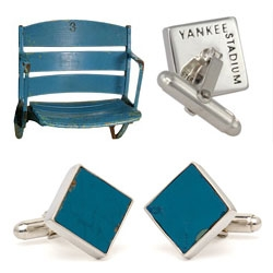 For the baseball junkie in your life ~ cufflinks he may actually wear, with pieces of yankee stadium. fenway park, etc.