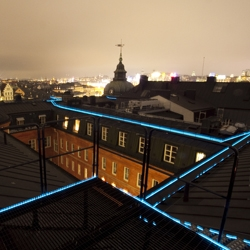 Now you can take walks on the roof of Riddarholmen in Stockholm and  have another dimension you can now experience, a walk in the dark. Walk ways are equipped with LED lights.