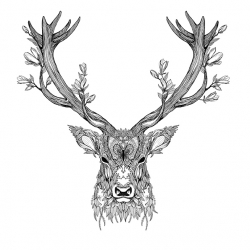 Beautiful stag print (named Prongs) by London based artist/illustrator Ina Dorthea Thuresson. Lots of intricate details, and there is an owl too!