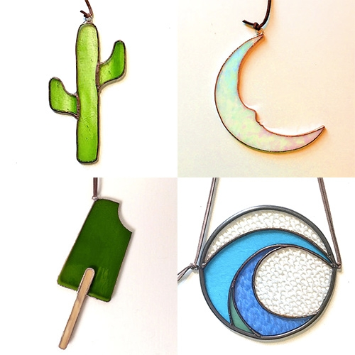 Colin Adrian's modern take on stained glass has expanded from glass feathers to cacti, waves, popsicles, and more!