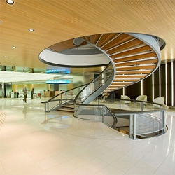 Stair porn at the new lobby for the Sabadell Bank in Barcelona, Spain. Designed by Mateo Arquitectura.