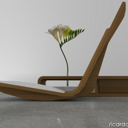stak chair, designed by ricardo garza marcos is a floor wooden rocking shair made out of molded plywood