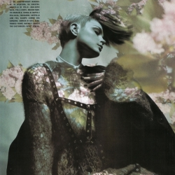 Vogue Italia Does Fall Florals With Jessica Stam Jessica Stam Shot by Solve Sundsbø for Vogue Italia