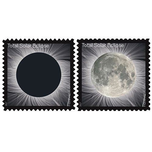 The Total Solar Eclipse Forever stamp, which commemorates the August 21 eclipse, transforms into an image of the Moon from the heat of a finger. First of it's kind USPS thermochromic ink stamp!