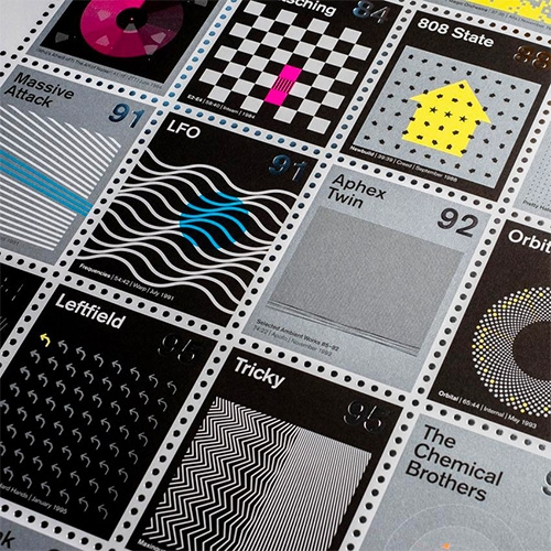 "We Are Dorothy's Stamp Albums: Electronic. ""A new NEON print celebrating the most influential and exciting electronic albums of the last 50 years. We've reimagined 42 seminal electronic albums as a series of oversized postage stamps."""