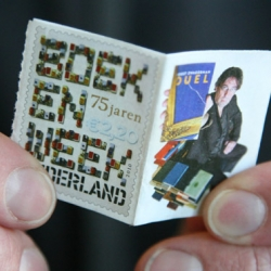 The first stamp in the form of a book has been designed by Richard Hutten for the Royal TNT Dutch post to celebrate the 75 years of Dutch book week. eight pages,  contains a 500-word story.