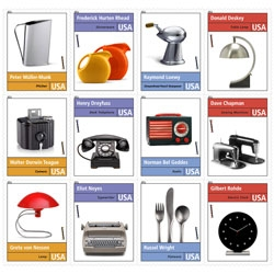 """A 12 stamp pane honoring """"Pioneers of American Industrial Design"""" will be added to the USPS Forever stamp program in 2011."""
