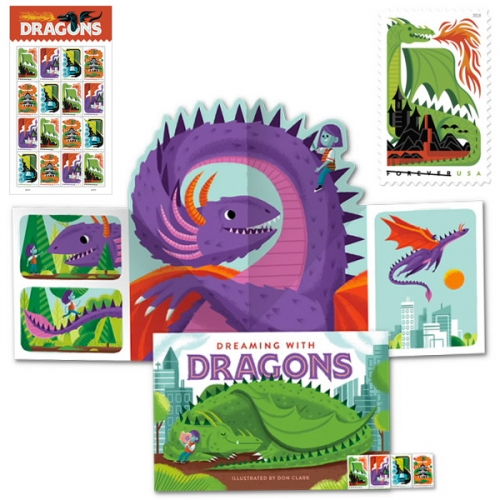 USPS Dragons Stamps - beautifully illustrated by Don Clark of the Invisible Creature Studio and there's even a 24 page pop up book!