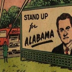 1960's pro-segregation comic book depicting George Wallace's ideas for a racially divided state. It's not very good. Not a web-slinger or man-of-steel in sight.