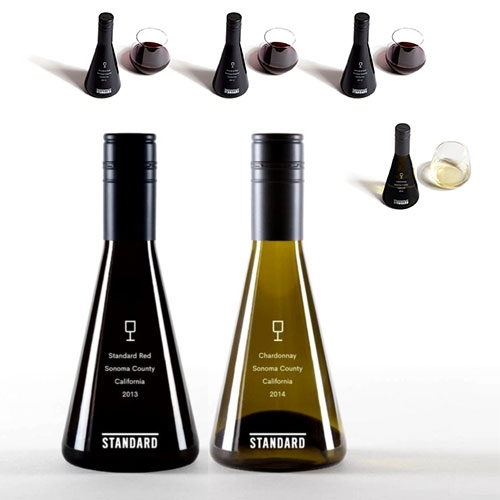 Standard Wines - cute packaging with these single serving mini glass bottles.