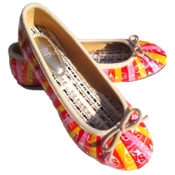 Ballet flats decoupaged with Starburst wrappers. Bright, colorful, and eco-friendly.