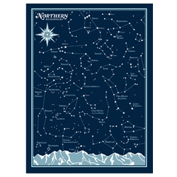 "Northern Hemisphere Star Chart print by Brainstorm is a two color 18"" x 24"" limited edition signed and numbered screen print. You can pair it with their Southern Hemisphere print for a set of all the stars in the sky!"