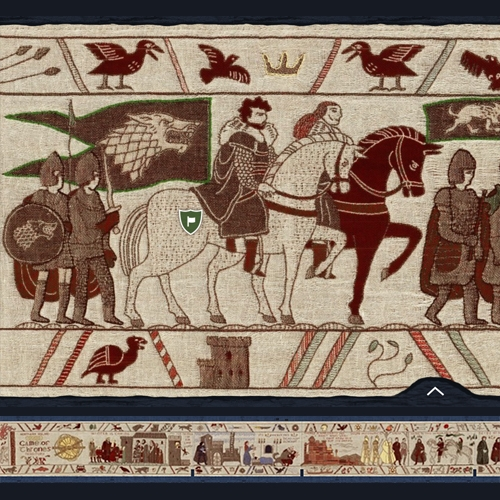 Northern Ireland Game of Thrones Tapestry - an epic 77 meter tapestry to scroll through the last 6 seasons with added info and Irish shooting locations.