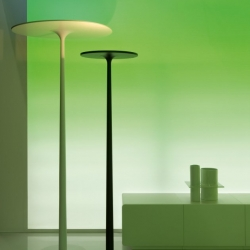 THX1138 by SpHaus founder Filippo d'Orto is a freestanding lamp made of aluminum and painted steel. A large disc of energy-efficient LEDs, supported by a thin rod. Available in two sizes.
