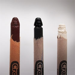 Steve Thompson's Crayola Force, Star Wars characters carved from crayons.