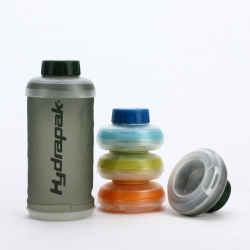Hydrapak Stash Collapsible Water Bottle - The soft TPU walled bottle integrates an innovative molded top and bottom that snaps together for easy storage and transport.