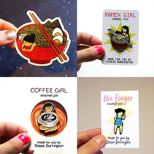 Ramen + Coffee lovers - Stasia Burrington makes some adorable pins and stickers of her cheeky girls and cats! (She also makes lovely illustrations and paintings!)