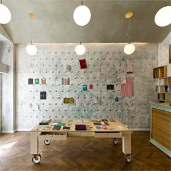 Papelote, a new concept store of hand made stationery in Prague, designed by A1Architects.