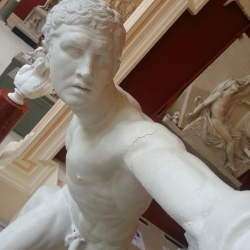 Statues Taking Selfies at Crawford Art Gallery in Cork, Ireland.