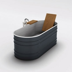 Modern rustic at its best: Patricia Urquiola's chic steel and teak Vieques tub for agape.
