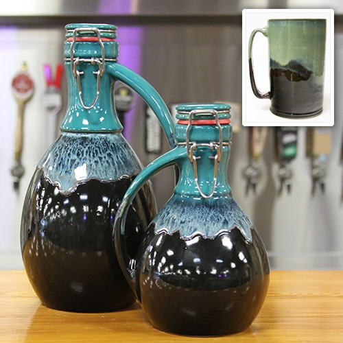 Souther Growler makes 64oz and 32 oz ceramic growlers and 24oz beer steins - each hand painted by their potters in Huntsville, AL.