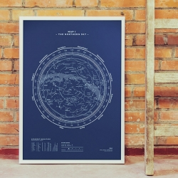 "Map No. I - The Northern Sky"" by stellavie (Steffen Heidemann & Viktoria Klein) is an accurate depiction of the northern sky. Silkscreen printed, 50x70, limited to 500 pieces…"