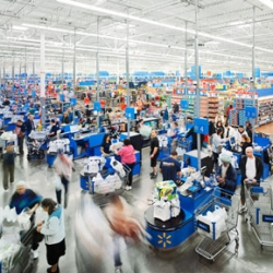 Time lapse photography: 24 hours inside of a Walmart by Stephen Wilkes for Fortune magazine. A photo was taken every 20 seconds from 9:14am to 9:14pm. 1,800 frames in total.