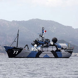 Sea Shepherd flagship, Steve Irwin, as it sports a new WWI era dazzle camouflage paint job. Also, it's currently in jeopardy as it's being detained at a Scottish port.