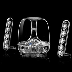Harmon Kardon takes their iconic Soundsticks to a new level by adding bluetooth! They sound great, and bluetooth adds so much versatility, from playing music from your phones, laptops, and more!
