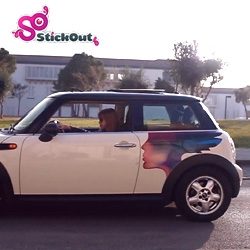 StickOut - art for your car on 3M vinyl.  Easy on and off, DIY kit, pre-cut to fit your car and style!
