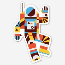 """Brave Outpost """"Hello Spaceman"""" Sticker"""