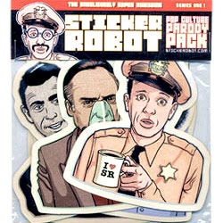 "From the company that brought you Shepard Fairey's Obama hope stickers, comes the ""Pop Culture Parody Pack,"" with Don Knotts, Rod Serling, Priss form Blade Runner, Frank Booth and more. Sweeeeet!"