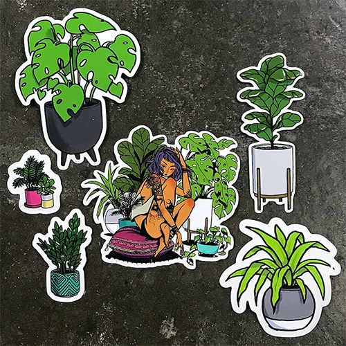 "Jacquelin Deleon Plant Life Sticker Pack - 6 stickers ranging from 1.7"" to 4.7"" printed on glossy transparent vinyl stickers"
