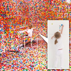 WOW. Yayoi Kusama's Obliteration Room in the Gallery of Modern Art in Brisbane... a fully furnished COMPLETELY WHITE room... and then little kids are given thousands of colored dot stickers to go nuts with...